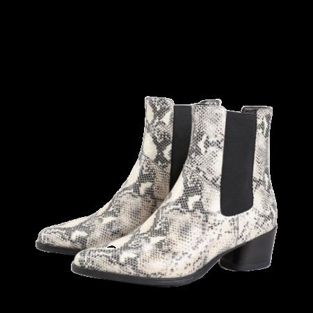LARA Sand/Black Embossed Leather Boots