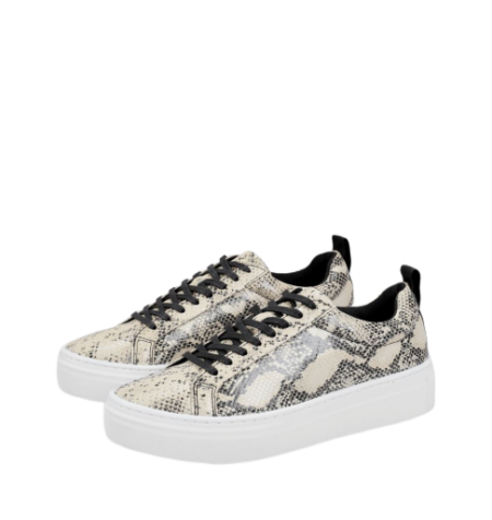ZOE PLATFORM Sand/Black Embossed Leather Shoes