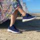 Navy blå sneakers slip on uden snøre kan snøres
