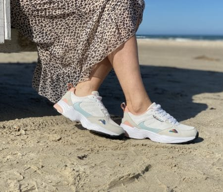 Retro sneakers, mønsteded sneakers, hvide sneakers