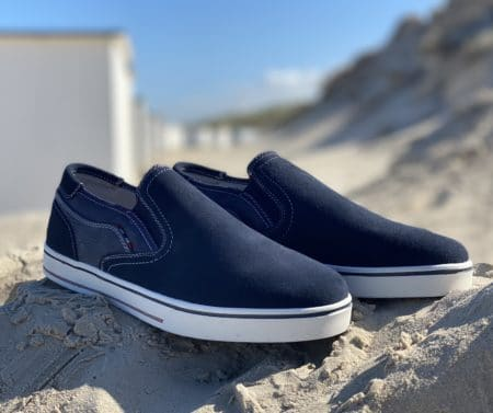 blå herre loafer navy slip on herre