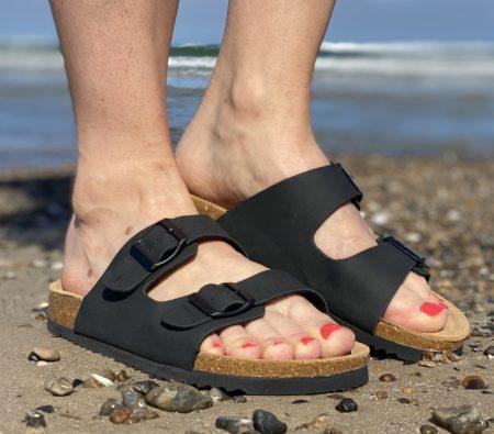 billig sort bio sandal med blød bund