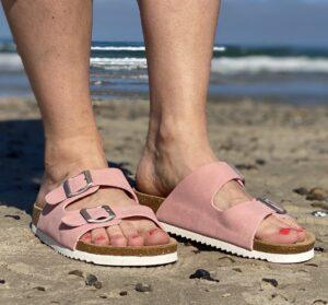 Lyserød bio sandal billig med blød bund