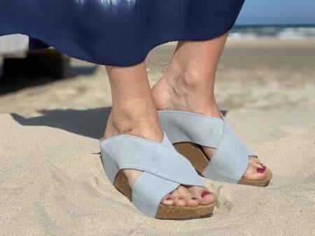 Copenhagen shoes frances baby blue lysblå plateau sandal blokhus Blokhus strand løkken