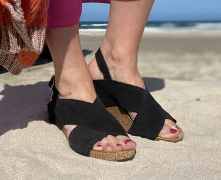 Copenhagen shoes susan sort sandal plateau med rem