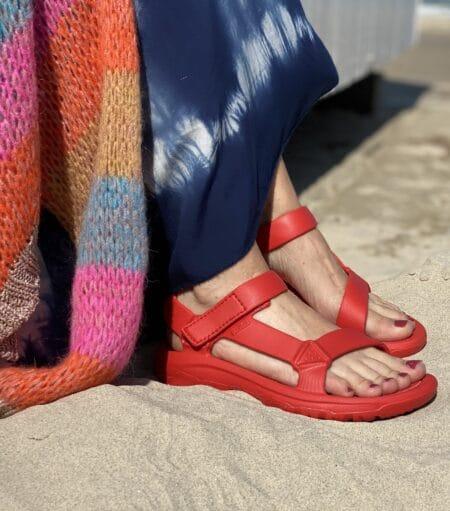 teva hurricane drift rød gummi sandal trekkingsandal badesandal blokhus strand nord sko