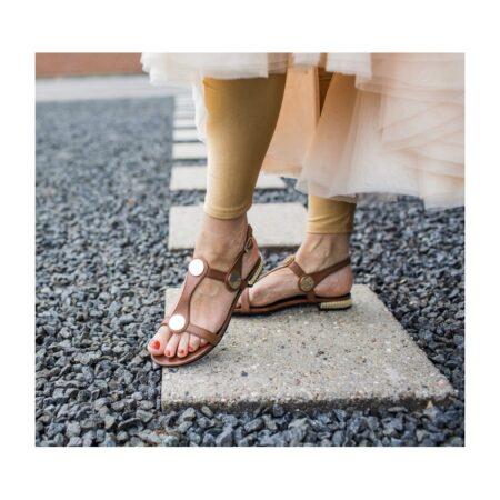 copenhagen shoes new eliza brun sandal med guld spænder blokhus strand