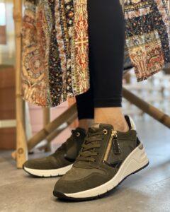 Høj sneakers army grøn med lynlås tamarisk