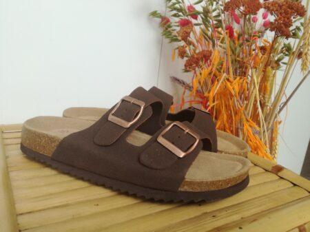 Lyserød bio sandal billig med blød bund nord sko rosa brun