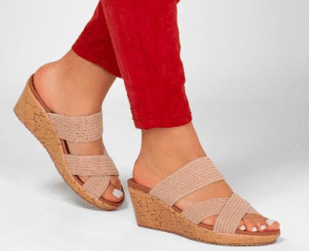 skechers dame sandal kilhæl sommer 32967 sand tan blokhus hune nord sko