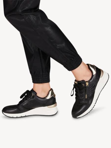 tamaris sneakers dame med lynlås efterår sort guld blokhus nord sko 23702