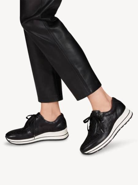 Tamaris sort læder sneakers 1-23740-25-027 med aftagelig sål og lynlås