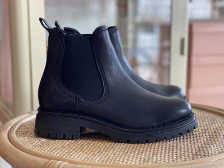 """Tamaris """"Chelsea boots"""" i sort læder"""