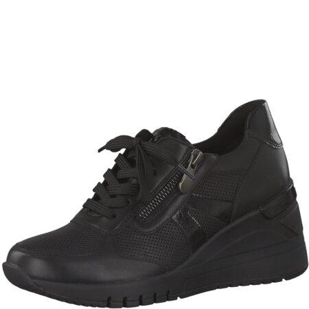 Marco Tozzi sort sko læder syntetisk lynlås sort sneakers plateau nordsko Hune Blokhus