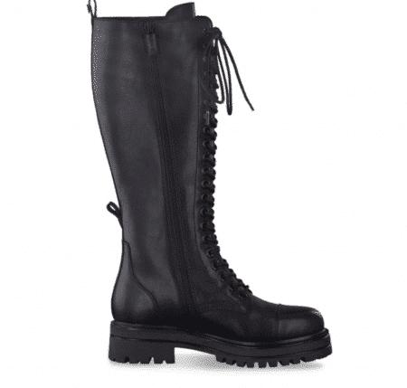Tamaris støvler lang snøre dame vinterstøvle læder 25607 sort