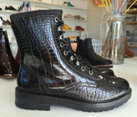 Tamaris Black Croco dame støvle 26278 sort vinterstøvle nord sko blokhus strand hune