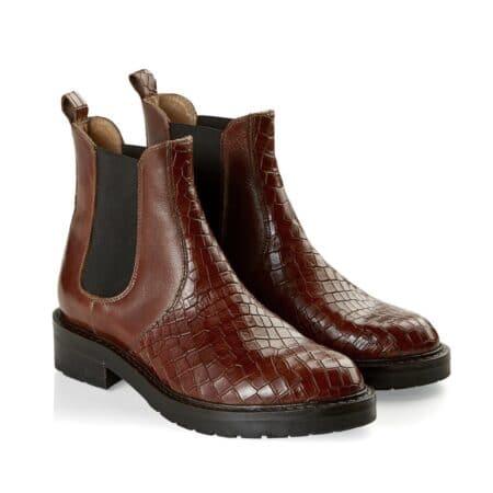 Pavement krokodille brun læder støvle vinterstøvle damestøvle Pavement Nordsko Blokhus Hæl