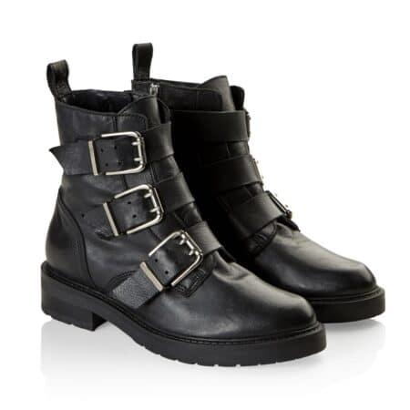 Pavement Lexi sort biker støvle med spænder 18487