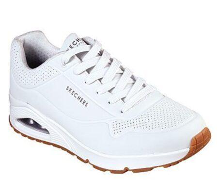 Mens uno stand on air hvid læder skechers sneakers