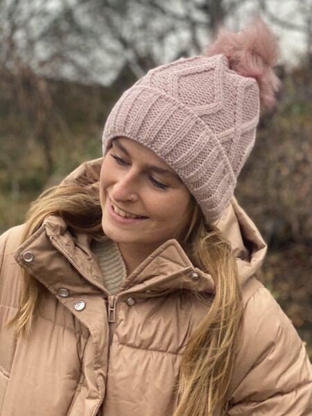Huer med fleece foer lyserød