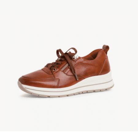 Tamaris cognac læder sneakers med lynlås aftagelig sål