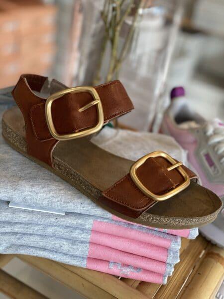 cashott sandal læder i brun med justerbare remme