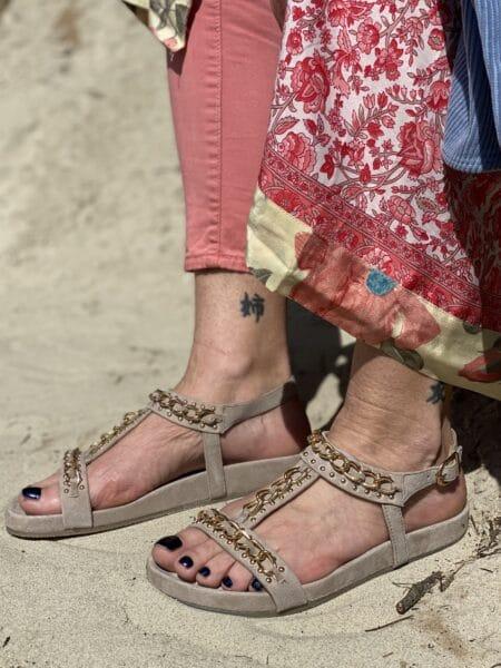 copenhagen shoes beige sandal med guld