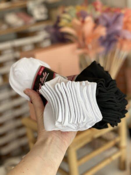 ankelstrømpe tynd god kvalitet hvid sort