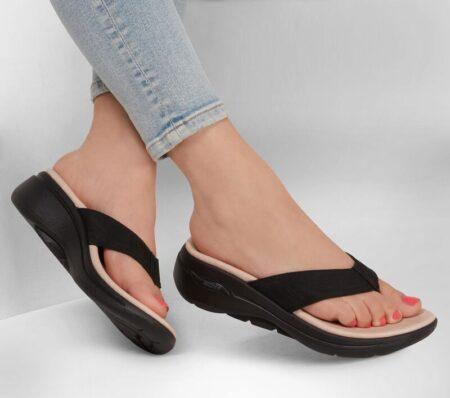 skechers tå sandal sort arch fit