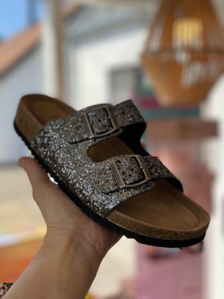 bio sandal grå glimmer glitter comfort