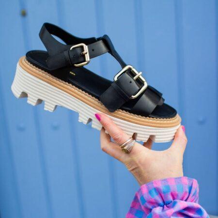copenhagen shoes power for life læder plateau sandal med regulerbar rem