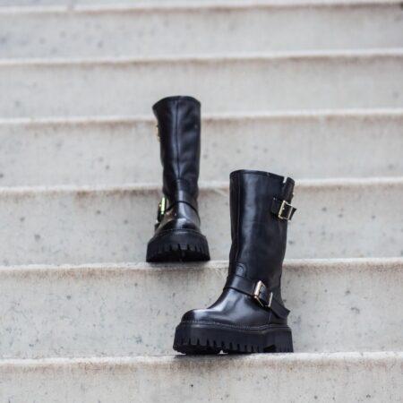 copenhagen shoes høje sorte støvler med spænder