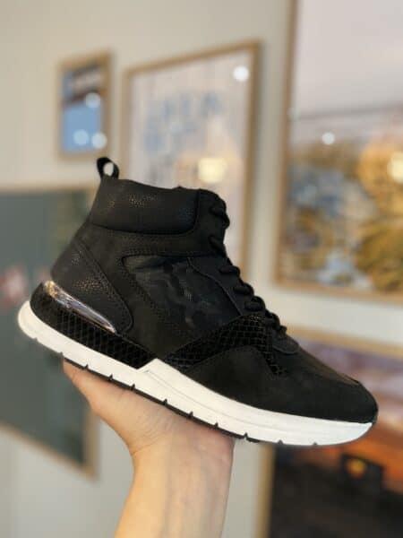 tamaris kort sort støvle med lynlås i siden og foer