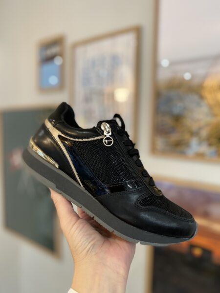 Tamaris sneakers black gold guld sort 23603 Nordsko Hune Blokhu