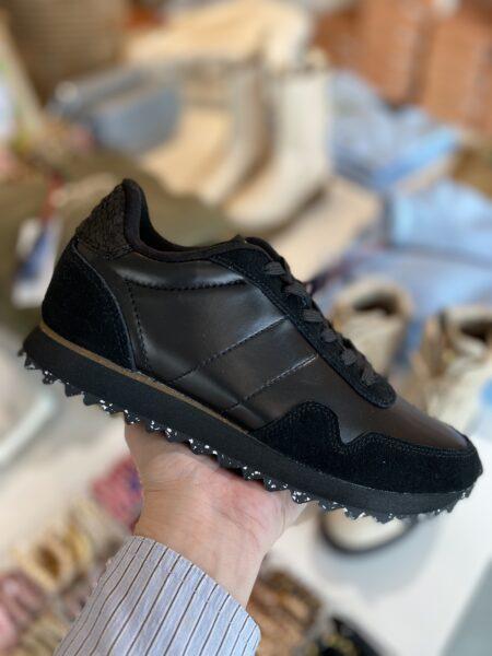 woden metallic nylon sneakers korksål sort
