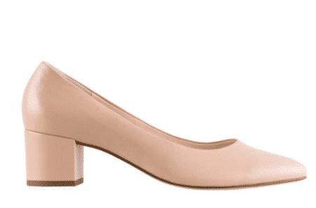 Hoegl Pumps stiletter højhælede sko nyde beige lak læder leather blokhæl 0-184004-1800 Nordsko Hune Blokhus